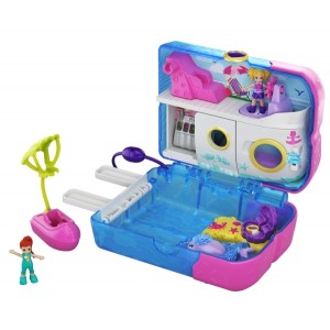 Polly Pocket Pocket World Sweet Sails™ Cruise Ship Compact, 2 Micro Dolls, Accessories