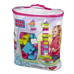 Mega Bloks suur roosa klotsikott 80tk